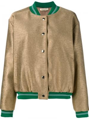 Куртка-бомбер с эффектом металлик Tata Naka. Цвет: металлический