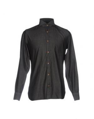 Джинсовая рубашка LUIGI BORRELLI NAPOLI. Цвет: черный