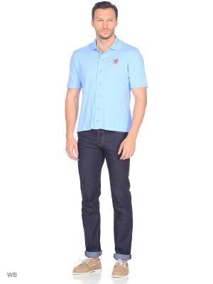 Рубашка трикотажная с коротким рукавом Пряник. Цвет: голубой