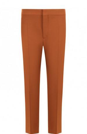Укороченные шерстяные брюки со стрелками Chloé. Цвет: светло-коричневый