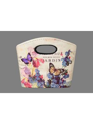 Сумочка интерьерная для хранения Ирисы и незабудки EL CASA. Цвет: бежевый, розовый, синий