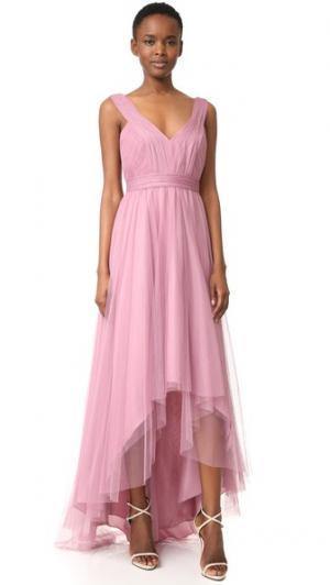 Асимметричное вечернее платье из тюля Monique Lhuillier Bridesmaids. Цвет: винтажный бирюзовый
