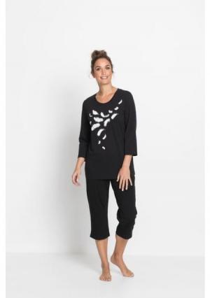 Пижама капри. Цвет: черный/белый с рисунком