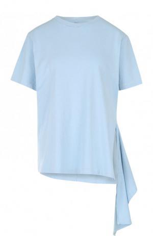 Хлопковая футболка асимметричного кроя Citizens Of Humanity. Цвет: голубой