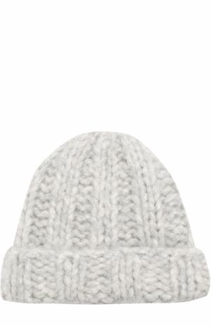 Шерстяная вязаная шапка Acne Studios. Цвет: светло-серый
