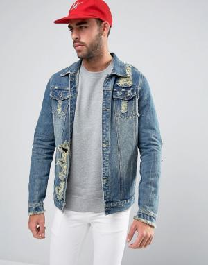Liquor N Poker Рваная выбеленная куртка. Цвет: синий