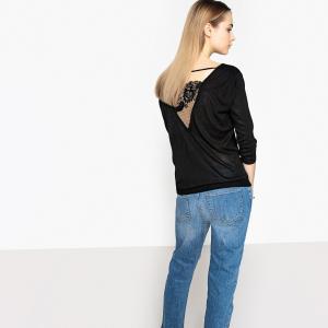 Пуловер с круглым вырезом, из тонкого трикотажа SCHOOL RAG. Цвет: черный
