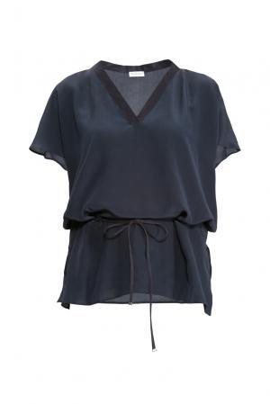 Блуза из шелка с поясом 149511 Les Tendances. Цвет: синий