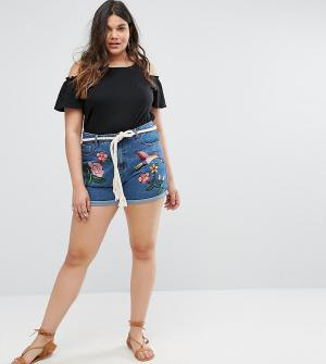 Alice & You Джинсовые шорты с вышивкой. Цвет: синий