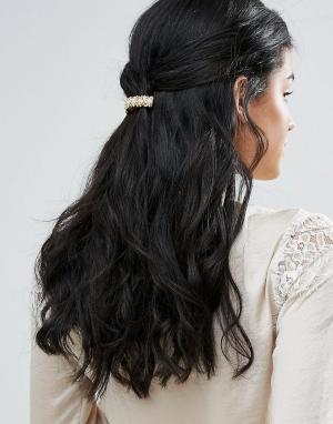 DesignB London Заколка для волос в винтажном стиле. Цвет: золотой