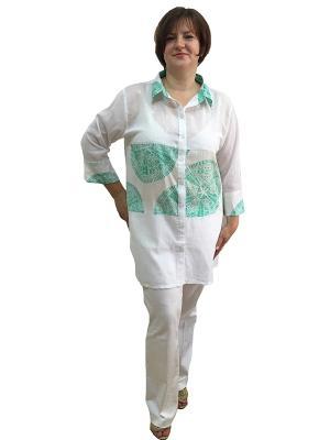 Рубашка Naturel. Цвет: белый, зеленый