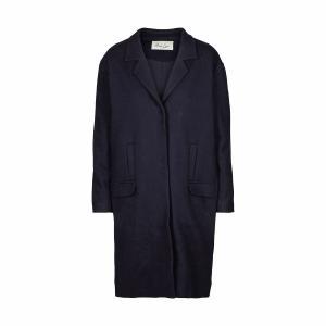 Пальто прямого покроя из шерстяного драпа AND LESS. Цвет: синий морской