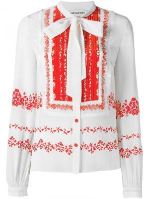 Блузка с завязками на бант Self-Portrait. Цвет: белый