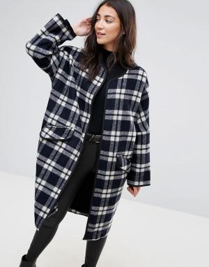 Parka London Длинное шерстяное пальто в клетку Selby. Цвет: черный