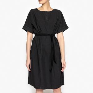 Платье из поплина с короткими рукавами POMANDERE. Цвет: темно-бежевый,черный