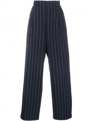 Широкие брюки в полоску Ganni. Цвет: синий
