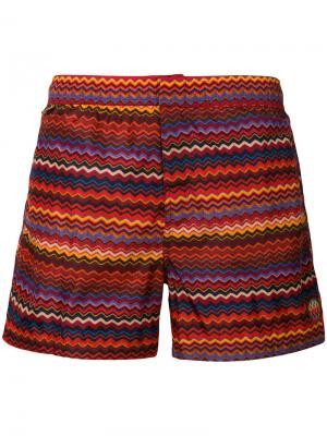 Striped swimming trunks Missoni Mare. Цвет: жёлтый и оранжевый