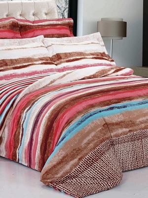 Комплект постельного белья Soft Line. Цвет: темно-коричневый, красный, белый
