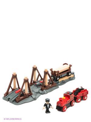 Игровой набор с паровозом и строящимся мостом BRIO. Цвет: зеленый