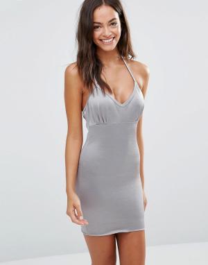 Smooothees Моделирующее платье-комбинация с лямкой через шею. Цвет: серый