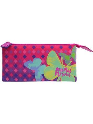 Пенал-косметичка  ANIMAL PLANET Бабочки Action!. Цвет: розовый,фиолетовый