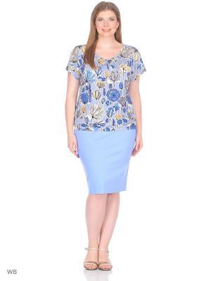 Блузка ФЭСТ. Цвет: серый, голубой