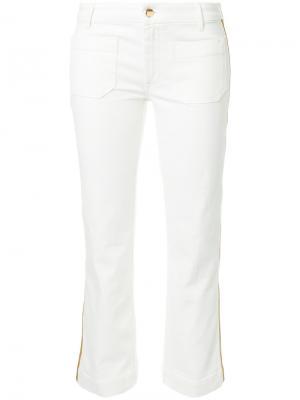 Укороченные джинсы с лампасами The Seafarer. Цвет: белый