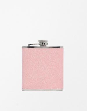 50FIFTY Плоская фляжка с блестками. Цвет: розовый