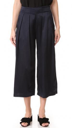 Шелковая юбка-брюки Helene Pamplemousse. Цвет: голубой