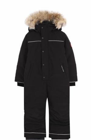 Пуховый комбинезон Grizzly с меховой отделкой капюшона Canada Goose. Цвет: черный