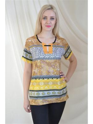 Блуза Miata. Цвет: коричневый, желтый, черный