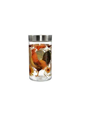 Банка Петух и солнце 1700мл Elff Ceramics. Цвет: серебристый, оранжевый