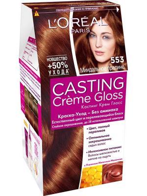 Стойкая краска-уход для волос Casting Creme Gloss без аммиака, оттенок 553 Миндальное пралине L'Oreal Paris. Цвет: коричневый