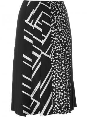 Плиссированная юбка с комбинированным принтом Salvatore Ferragamo. Цвет: чёрный