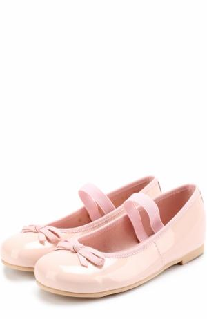 Балетки из лаковой кожи с бантами Pretty Ballerinas. Цвет: розовый