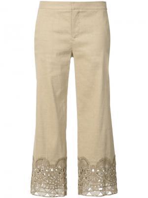 Укороченные брюки с декором Kobi Halperin. Цвет: коричневый