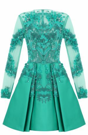 Шелковое платье-миди с вышивкой Zuhair Murad. Цвет: зеленый