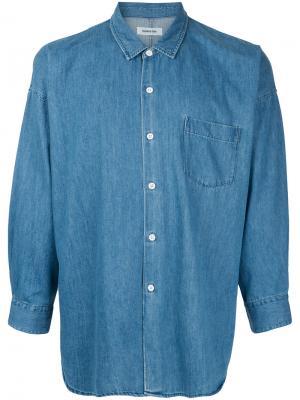 Джинсовая рубашка с классическим воротником monkey time. Цвет: синий