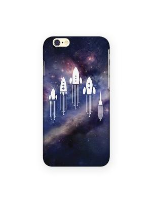 Чехол для IPhone 6 Ракеты в космосе Mitya Veselkov. Цвет: фиолетовый, бежевый
