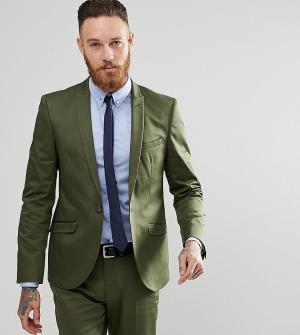 Heart & Dagger Приталенный пиджак из хлопкового атласа. Цвет: зеленый