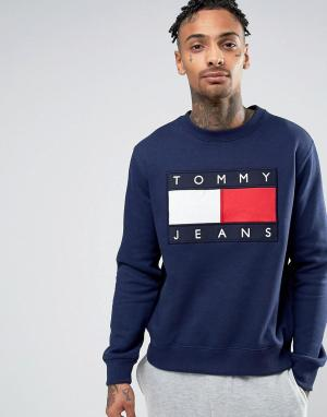 Tommy Jeans Темно-синий свитшот в стиле 90-х с круглым вырезом. Цвет: темно-синий
