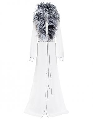 Шелковое платье Hollywood Djaba Diassamidze. Цвет: белый