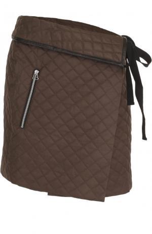 Стеганая мини-юбка асимметричного кроя Rag&Bone. Цвет: коричневый