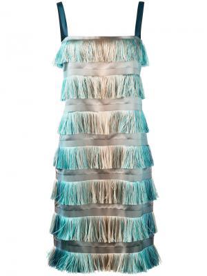 Tiered fringe dress Alberta Ferretti. Цвет: телесный
