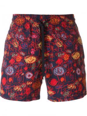 Плавательные шорты с графическим принтом Vilebrequin. Цвет: синий