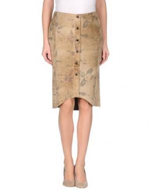 Кожаная юбка MARIELLA BURANI. Цвет: песочный