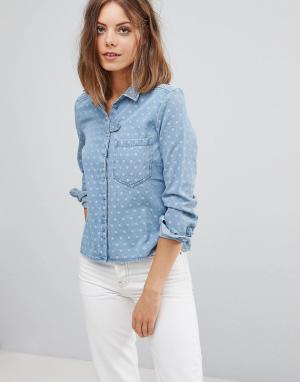 Esprit Джинсовая рубашка в горошек. Цвет: синий