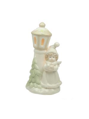 Фигурка декоративная Ангелочек с подсветкой Русские подарки. Цвет: кремовый