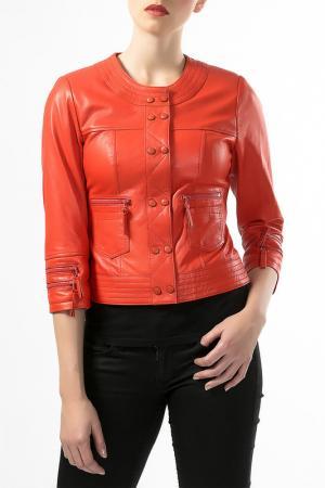 Кожаная куртка Antonella Favelli. Цвет: красный