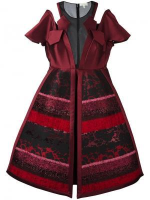 Платье с фактурными панелями Delpozo. Цвет: розовый и фиолетовый